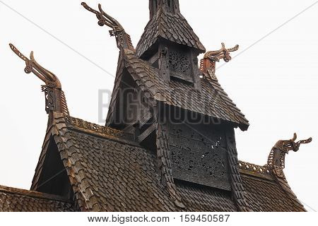 Traditional norwegian stave roof church. Borgund. Travel Norway. Tourism