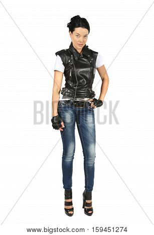 Full portrait of young woman in a black leather vest isolated on white background