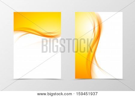 Front and back dynamic flyer template design. Abstract template with orange lines in wavy soft style. Vector illustration