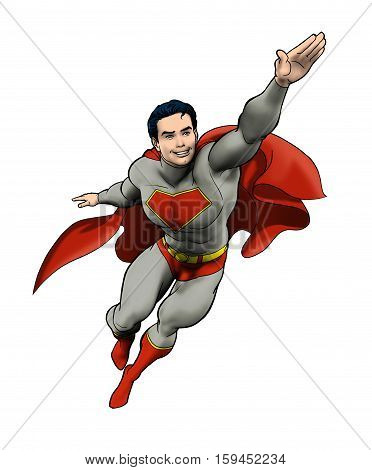 Drawing of a super hero flying into action.