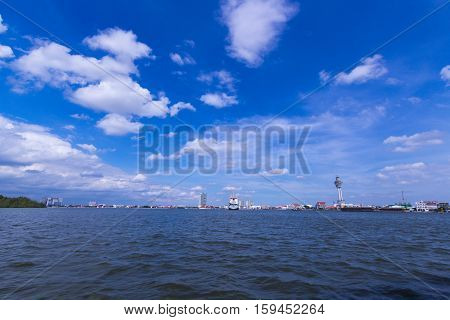 Chao Phraya River with blue sky and cloud at Samut Prakan Province