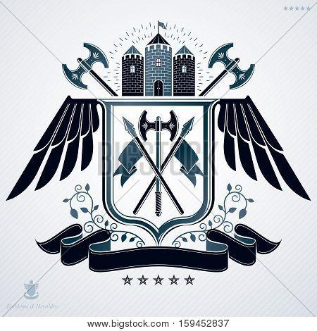 Vector emblem vintage heraldic design with hatchets and medieval castle