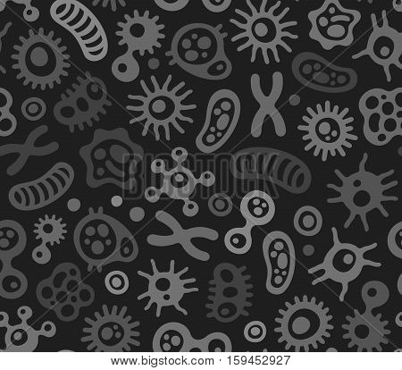 Microbes, Virus and Bacteria Seamless Pattern. Vector Illustration