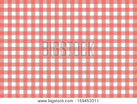 Traditional illustration of tablecloth background - Red White checks