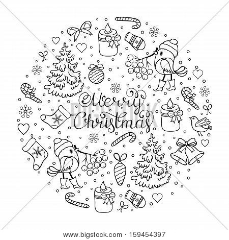 Vector illustration of seamless christmas pattern.Coloring page for children and adult.