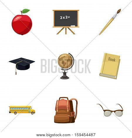 Schooling icons set. Cartoon illustration of 9 schooling vector icons for web