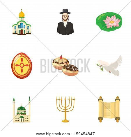 Religion icons set. Cartoon illustration of 9 religion vector icons for web