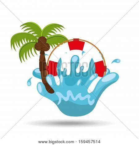 life buoy water splash palm summer vacation vector illustration
