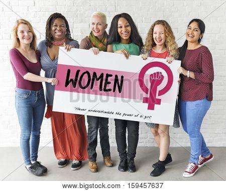 Women Girl Power Feminism Equal Opportunity Concept