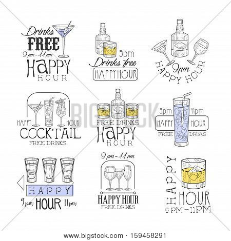 Cocktail Bar Happy Hour Promotion Sign Design Template Set Of Hand Drawn Hipster Sketches With Different Drinks And Glasses. Cool Illustrations With Advertisement Elements For The Cafe Free Drinking Time.