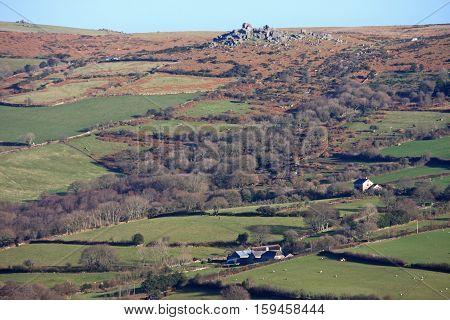 Fieds and granite tor on Dartmoor, Devon