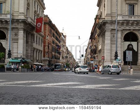 ROME, ITALY - JUNE 12, 2015: Via Nazionale is a street in Rome from Piazza della Repubblica leading towards Piazza Venezia.