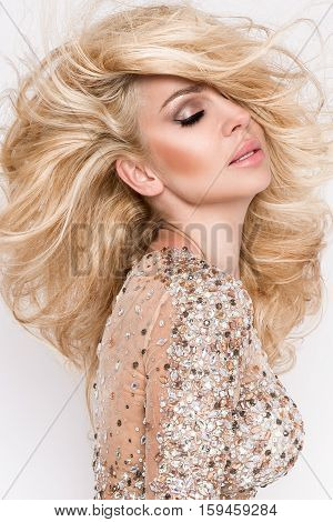 Portrait Of The Beautiful Blonde With Amazing Eyes, Dense Long Hair With Highlights, Green Eyes And