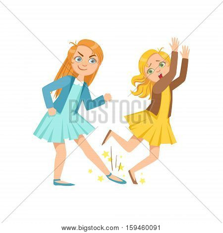 Girl Tripping Smaller Kid Teenage Bully Demonstrating Mischievous Uncontrollable Delinquent Behavior Cartoon Illustration. Cute Big-Eyed Child Vector Character Behaving Aggressively And Bullying Other Children.