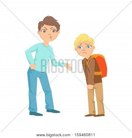 Boy Exorting Money From Weaker Kid Teenage Bully Demonstrating Mischievous Uncontrollable Delinquent Behavior Cartoon Illustration. Cute Big-Eyed Child Vector Character Behaving Aggressively And Bullying Other Children.