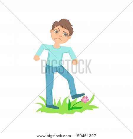 Boy Walking On Lawn Grass Breaking Flowers Teenage Bully Demonstrating Mischievous Uncontrollable Delinquent Behavior Cartoon Illustration. Cute Big-Eyed Child Vector Character Behaving Aggressively And Bullying Other Children. poster