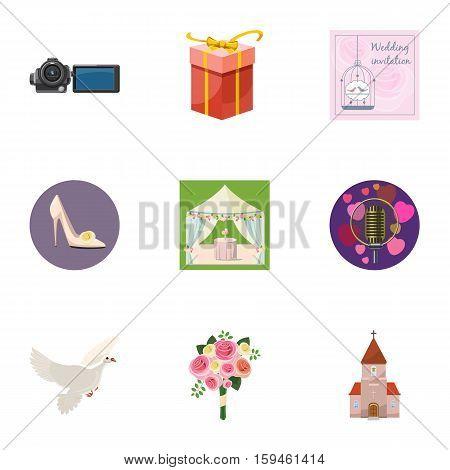 Marriage ceremony icons set. Cartoon illustration of 9 marriage ceremony vector icons for web