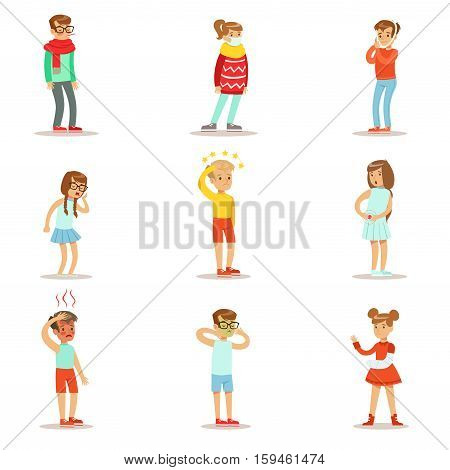 Sick Children Feeling Unwell Suffering From Sickness Or Injury Needing Healthcare Medical Help Collection Of Cartoon Characters. Kids With Health Damage Or Illness Showing The Symptoms Vector Illustrations.