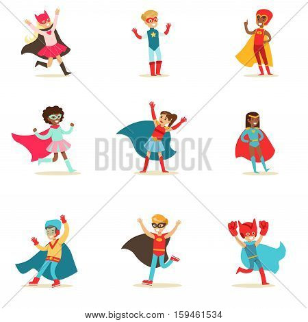Children Pretending To Have Super Powers Dressed In Superhero Costumes With Capes And Masks Set Of Smiling Characters. Halloween Party Disguised Kids In Comics Heroes Outfits Paying And Running Vector Illustrations.