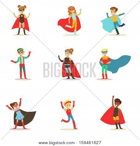 Children Pretending To Have Super Powers Dressed In Superhero Costumes With Capes And Masks Collection Of Smiling Characters. Halloween Party Disguised Kids In Comics Heroes Outfits Paying And Running Vector Illustrations.