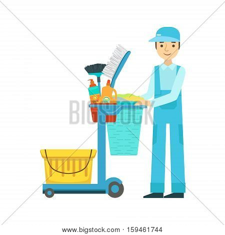 Man With Cart Filled With Special Equipment And Tools, Cleaning Service Professional Cleaner In Uniform Cleaning In The Household. Person Working In Housekeeping At Work Doing Clean Up Vector Illustration.