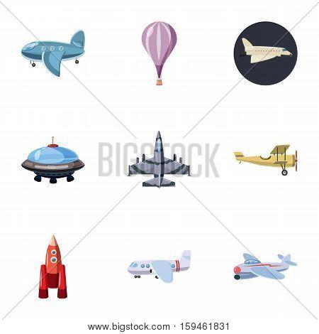 Aircraft icons set. Cartoon illustration of 9 aircraft vector icons for web