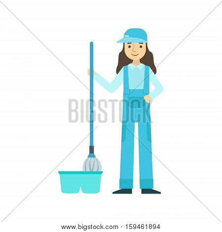 Girl With Mop Washing The Floor, Cleaning Service Professional Cleaner In Uniform Cleaning In The Household. Person Working In Housekeeping At Work Doing Clean Up Vector Illustration.