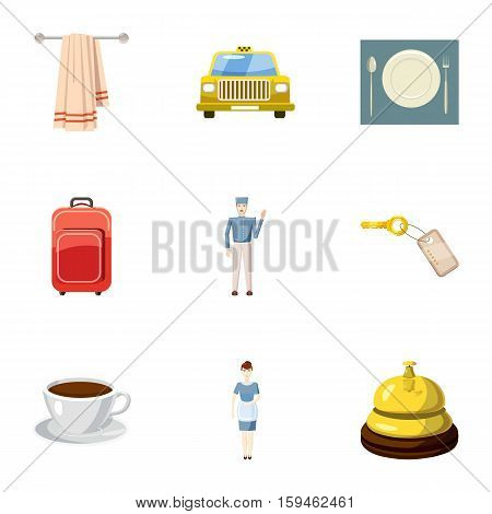 Hotel accommodation icons set. Cartoon illustration of 9 hotel accommodation vector icons for web