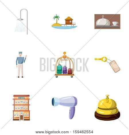 Hostel accommodation icons set. Cartoon illustration of 9 hostel accommodation vector icons for web