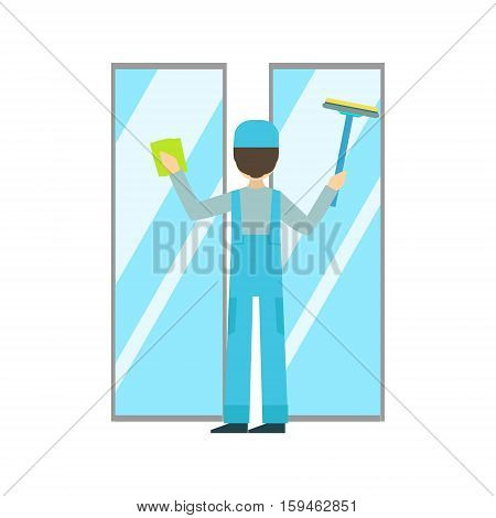Man With Sponge And Squeegee Washing Windows, Cleaning Service Professional Cleaner In Uniform Cleaning In The Household. Person Working In Housekeeping At Work Doing Clean Up Vector Illustration.