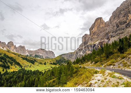 Road to Gardena Pass in Dolomites of Italy