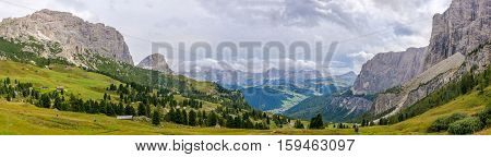 Panoramic view from road to Gardena Pass in Dolomites of Italy