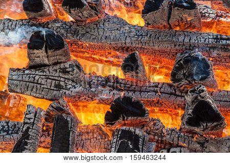 Burning Big Pile Of Wood