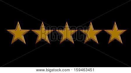 five gold stars on black background. 3D illustration five gold stars.