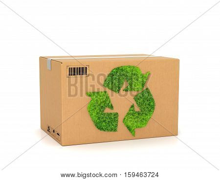 Eco. Cardboard box with green recycle ecology sign. 3d illustration