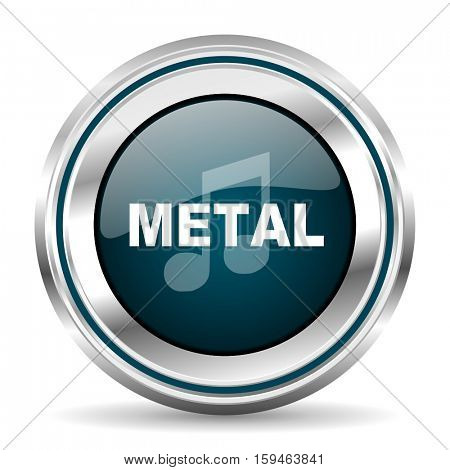 Metal music vector icon. Chrome border round web button. Silver metallic pushbutton.