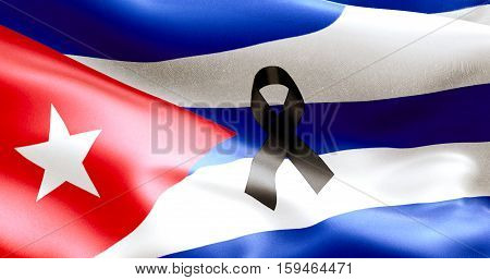 waving fabric texture of the flag of cuba color red blue and white of cuban flag with black ribbon communist dictatorship pray for president concept