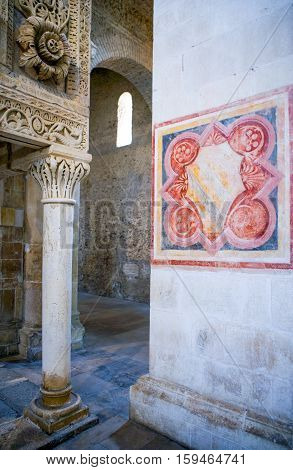 Casauria,  Italy - August 20, 2006:  Detail of the inside of the St. Clemente basilica
