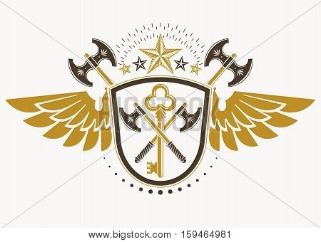 Vector Illustration Of Old Style Heraldic Emblem Decorated With Eagle Wings And Made With Hatchets A
