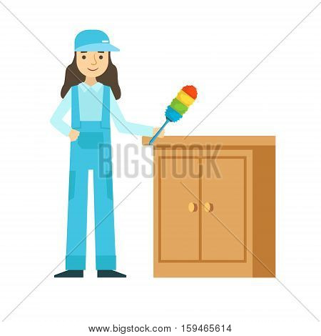 Woman Dusting The Furniture, Cleaning Service Professional Cleaner In Uniform Cleaning In The Household. Person Working In Housekeeping At Work Doing Clean Up Vector Illustration.
