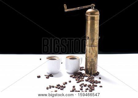 Two coffee cups,coffee mill,  Turkish-coffee and coffee seeds