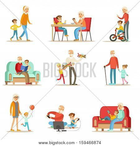 Grandfather And Grandmother Spending Time Playing With Grandchildren, Small Boys And Girls With Their Grandparents Vector Collection. Different Generations Of Family Enjoying Time Together Set Of Illustrations.