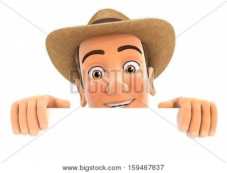 3d farmer hiding behind white wall illustration with isolated white background