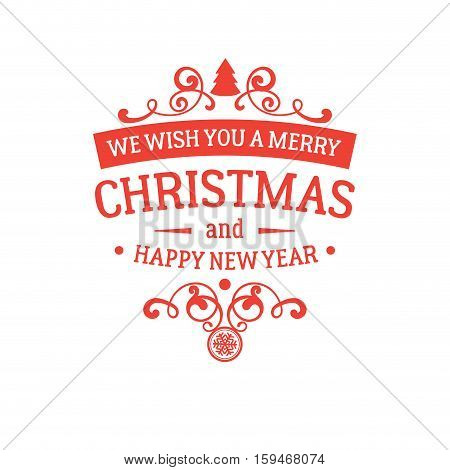 Merry christmas new vector photo free trial bigstock merry christmas and new year greetings badge with red letters and simple clean design elements m4hsunfo