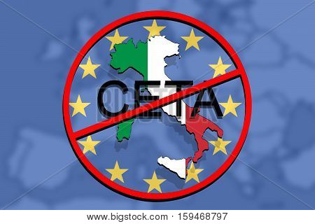 Anty Ceta - Comprehensive Economic And Trade Agreement On Euro Background, Italy Map