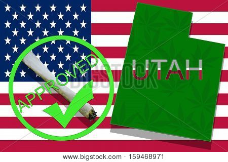 Utah On Cannabis Background. Drug Policy. Legalization Of Marijuana On Usa Flag,