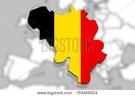 Close Up On Belgium Map On Europe Background