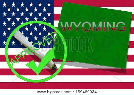 Wyoming On Cannabis Background. Drug Policy. Legalization Of Marijuana On Usa Flag,