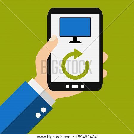 Hand holding Smartphone: PC Synchronization - Flat Design