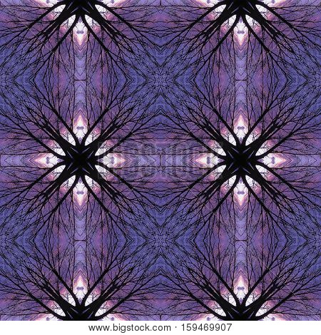 Nostalgic seamless pattern with branches and trees. Blue, purple, white and black kaleidoscopic pattern with twigs on a sky background